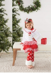 Mud Pie Baby or Toddler Girls Christmas Outfit: Santa Fur Cuff Legging Set