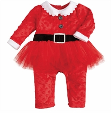 Mud Pie Baby Girls Santa Tutu One Piece Minky