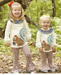 Mud Pie Baby or Girls Squirrel Tunic and Legging Set
