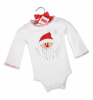 Mud Pie Baby Holiday Crawler: Baby White Christmas Onesie with Santa Face - SOLD OUT