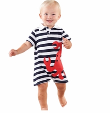 Mud Pie Baby-Infant Boy's Crab Polo One Piece - sold out