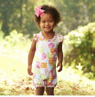 CLEARANCE Mud Pie Baby-Infant Girl's Owl Romper