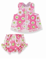 Mud Pie Baby-Infant Lily Pad Pinafore & Bloomer Set