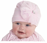 Mud Pie Baby-Infant's Jeweled Stripe Flower Hat - OUT OF STOCK
