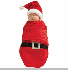 Mud Pie Baby Infant Santa Swaddle Bunting & Cap Set