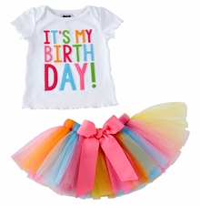 Mud Pie Baby or Little Girls It's My Birthday Tutu Set