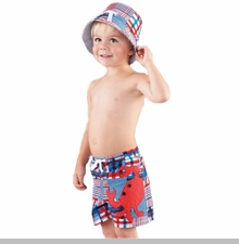 Mud Pie Baby-Toddler Boy's Madras Crab Swim Trunks - SOLD OUT