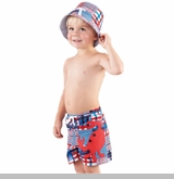 Mud Pie Baby-Toddler Boy's Madras Crab Swim Trunks