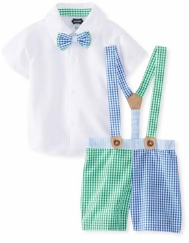 Mud Pie Baby- Toddler Boys Blue 3pc Checked Seersucker 12-18 Months - SOLD OUT