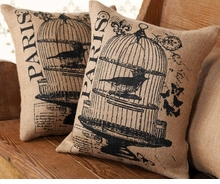 Mud Pie Bird Cage Burlap Pillow (price for one pillow)