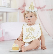 Mud Pie Birthday Gold Cake Smashing Set