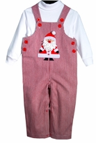 Mud Pie Boy's Christmas Overalls : Red Striped Twill Santa Overall 2pc Set