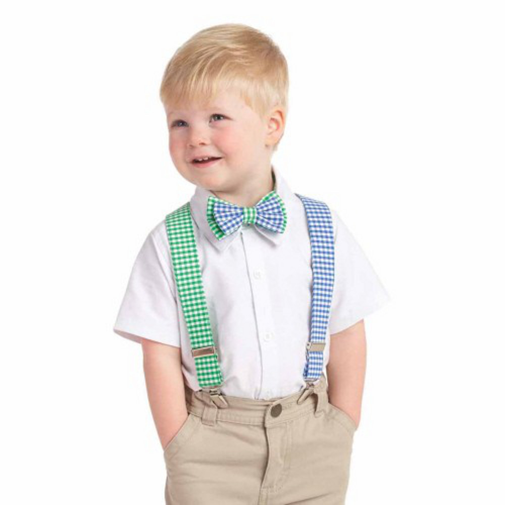Mud Pie Boy Gingham Bow Tie Suspender Set