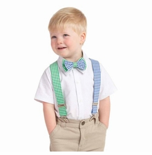 Mud Pie Boy's Gingham Bow Tie and Suspender Set