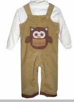 Mud Pie Boy's Tan Corduroy Owl Applique Overall Set