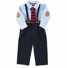 Mud Pie Boys Newborn Suspender Pant Set