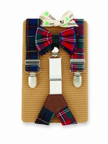 Mud Pie Boys Plaid Tie and Suspender Set
