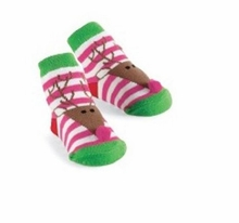 Mud Pie Christmas Holiday Baby Girl Socks (Striped Reindeer) -sold out