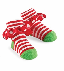Mud Pie Christmas Holiday Baby Red Stripes Dots Ruffle Socks - sold out