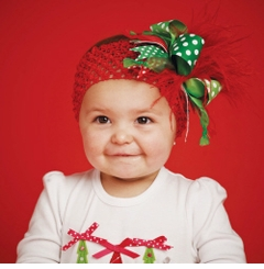 Mud Pie Christmas Red Feather Headband