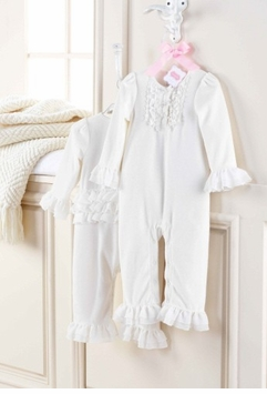 Mud Pie Cream Velour Ruffle One Piece   Gorgeous  - sold out