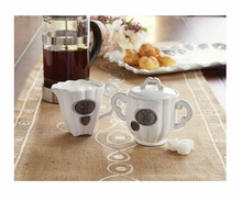 Mud Pie Fleur De Lis Cream & Sugar Set