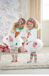 Mud Pie Girl's Christmas Outfit:  Infant or Toddler White Reindeer Tutu Set -sold out