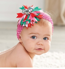Mud Pie Girl's Holiday Headbands: Pink Girl's Jingle Bell Soft Headband - sold out
