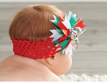 Mud Pie Girl's Holiday Headbands: Red Girl's Jingle Bell Soft Headband (green red silver ball)