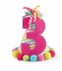 """Mud Pie Girl's Pink """"I'm Three"""" Party Hat - out of stock"""