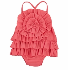 Mud Pie Girl's Pink Ruffle Swimsuit