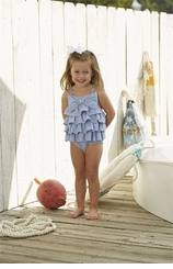 Mud Pie Girl's Seersucker Ruffle Bow Swimsuit