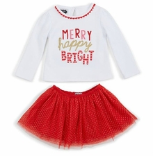 Mud Pie Girls Christmas Merry Happy Skirt Set