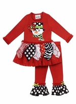Rare Editions Girls Christmas Outfits : Red Printed Snowman Girls Legging Set