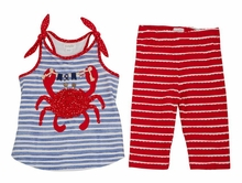 Mud Pie Girls' Crab Two Piece Pants Set Sleeveless