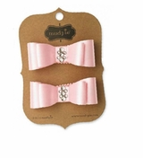 Mud Pie Girls Pink Satin Jewel Hair Clips