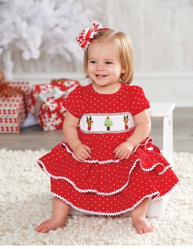 Mud Pie Holiday Dress: Red Girl's Infant or Toddler Corduroy Smocked Chistmas Dress - SOLD OUT