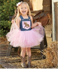 Mud Pie Little Girls 2 Pc Set : Overall Tutu Dress and Headband Bow