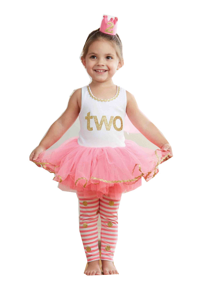 Mud pie little girls 2nd birthday dress set tunic and leggings