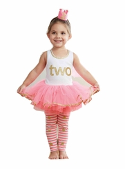 Mud Pie Little Girls 2nd Birthday Dress Set - Tunic and Leggings