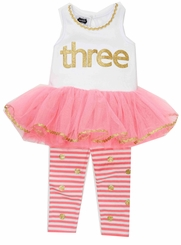 Mud Pie Little Girls 3rd Birthday # 3 Birthday Tutu Tunic Dress Set