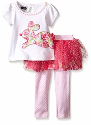 Mud Pie Little Girls' Bunny 3-Piece Set with Hair Bow