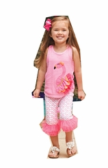 Mud Pie Little Girls Flamingo Capri Set with Bow