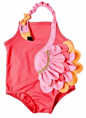 Mud Pie Little Girls Flamingo One Piece Swimsuit