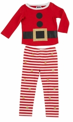 Mud Pie Little Girls Glitter Santa Pajamas