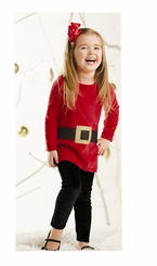 Mud Pie Little Girls Glitter Santa Tunic & Legging Set