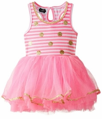 Mud Pie Little Girls' Gold Polka Dot Striped Glitter Party Dress