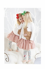 Mud Pie Little Girls Reindeer Christmas Skirt Set