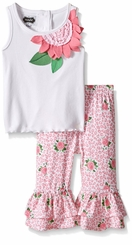 Mud Pie Little Girls Rose Tunic & Capri Set