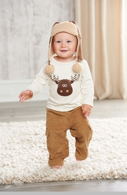 Mud Pie Moose Boy's Corduroy Cargo Pant Set - CLEARANCE FINAL SALE